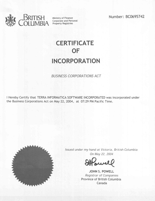 Terra Informatica Certificate of Incorporation
