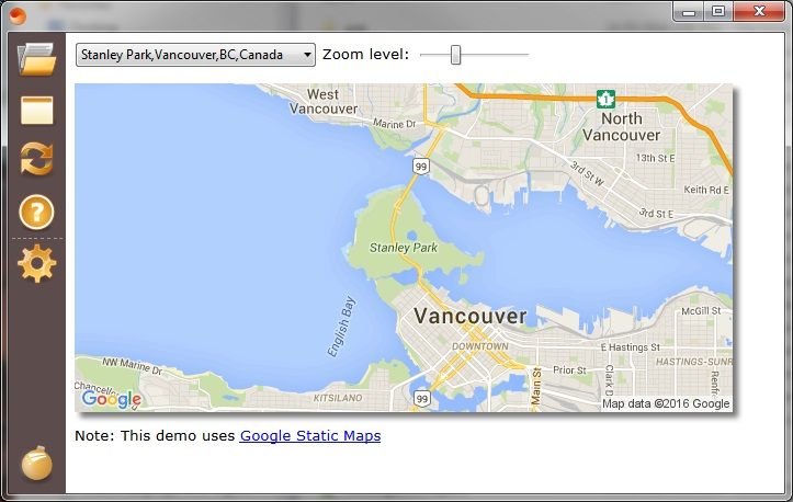 Demo of using Google Maps in Sciter.